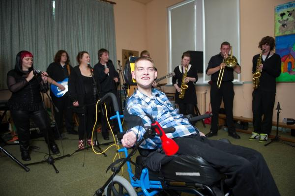 Cillian Mc Sweeney pictured with the Knocknaheeny Youth Inititive Band. Cillian has written a number of songs using special needs assistance technology, which he and the will perform for the President at the Aras this Saturday. Further info contact Grainne Mc Hale 0876721707. Pic Daragh Mc Sweeney/Provision